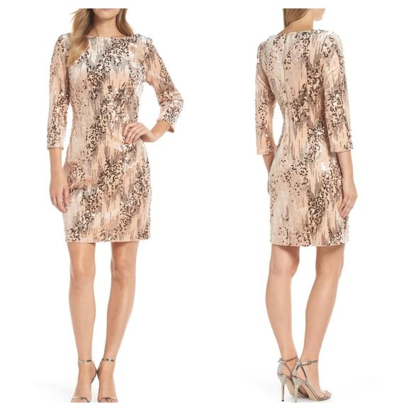 Eliza J Rose Gold Sequin Sheath Dress